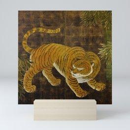 Japanese Tiger in Bamboo Grove Vintage Gold Leaf Screen Mini Art Print