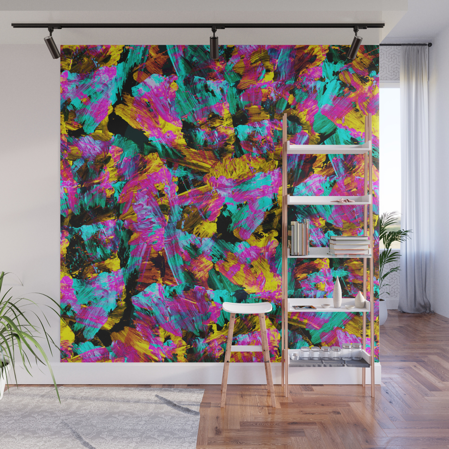Artsy Modern Neon Colors Black Abstract