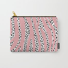 Dalmatian Polka Dot Spots and Zebra Stripes (black/white/pink) Carry-All Pouch