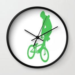 Green BMX Rider Wall Clock