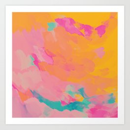 full color abstract sunset Art Print