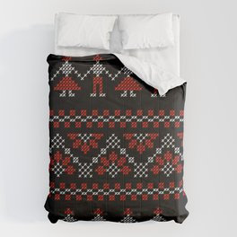 Traditional Romanian white & red cross-stitch people on black Comforters