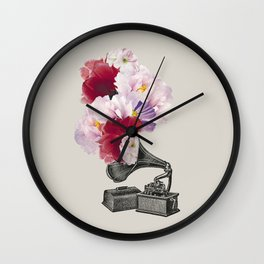 Flower gramophone Wall Clock