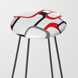 Red Black Gray Retro Square Pattern White Counter Stool