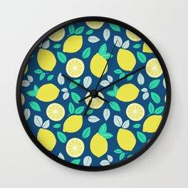 Summer Lemon Pattern in Navy Blue Wall Clock