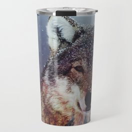 Wolf Double exposure Travel Mug