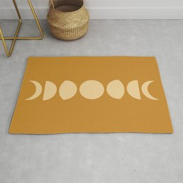 Minimal Moon Phases - Golden Orange Rug