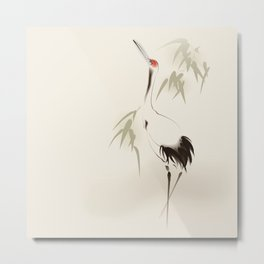 Oriental Red-Crowned Crane 001 Metal Print