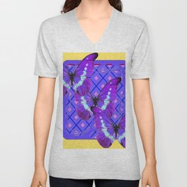 Three Purple Butterflies on Purple &Yellow Pattern Unisex V-Neck