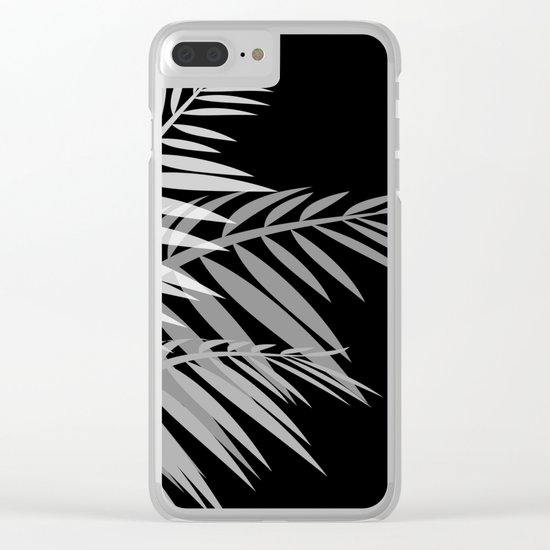 Palm leaves , black Clear iPhone Case