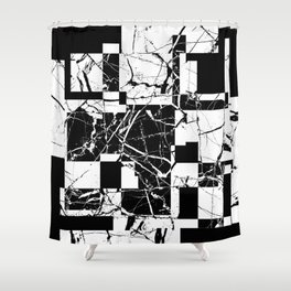 Manipulated Marble - Black and white, abstract, geometric, marble style art Shower Curtain