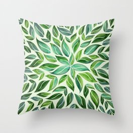 Spring Leaf Mandala Throw Pillow