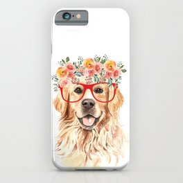 Golden Retriever with Red Glasses iPhone Case