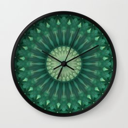 Dark and light green mandala Wall Clock