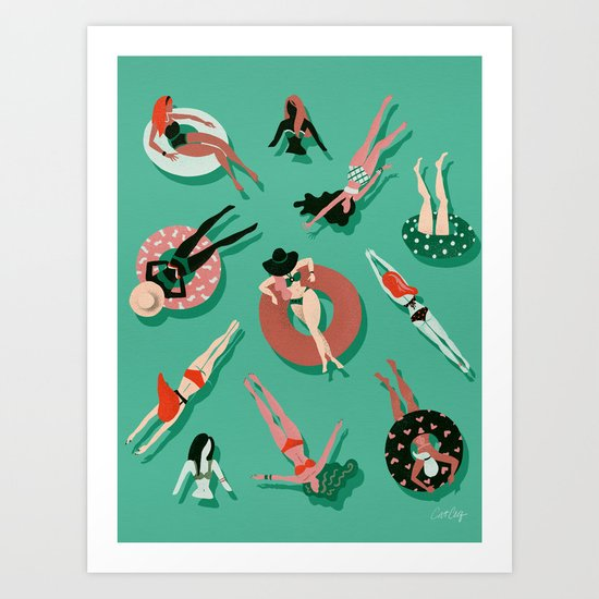 Swimming Ladies – Mint & Red Palette by catcoq