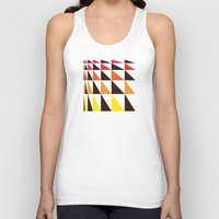 yellow pattern Tank Tops featuring Red Yellow Triangle Pattern by Gary Andrew Clarke