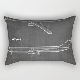 Boeing 777 Airliner Patent - 777 Airplane Art - Black Chalkboard Rectangular Pillow