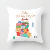 san francisco map Throw Pillows featuring map of san francisco by sarah green