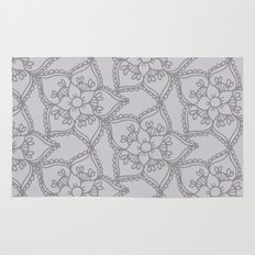 Silver gray lacey floral 2 Rug