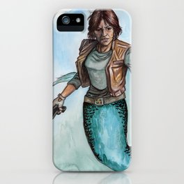 Scifi Mermaid on Teal iPhone Case