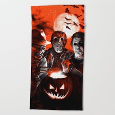 Freddy Krueger Jason Voorhees Michael Myers Super Villians Holiday Beach Towel