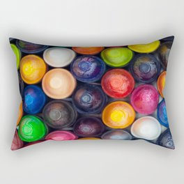 Overhead Of Colorful Crayons Rectangular Pillow