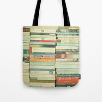 happy Tote Bags featuring Bookworm by Cassia Beck