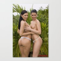 nudes Canvas Prints featuring Nudes by Retro Nude