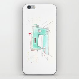 Vintage White 43-8 Sewing Machine in Aqua iPhone Skin