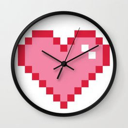 Pink Pixel Heart Love Wall Clock