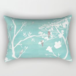 Chinoiserie Panels 1-2 White Scene on Teal Raw Silk - Casart Scenoiserie Collection Rectangular Pillow