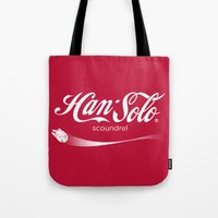 han solo Tote Bags featuring Brand Wars: Han Solo by Barn Bocock