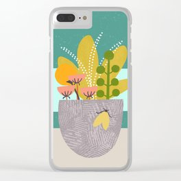 Succulent Garden with Moth Clear iPhone Case