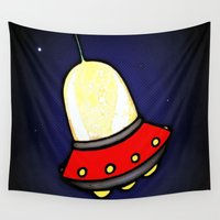 spaceship Wall Tapestries featuring Spaceship by Caroline Blicq