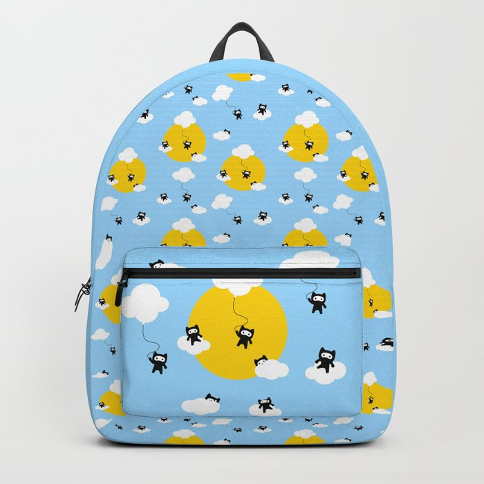 Ninja cats in the sky pattern Backpack