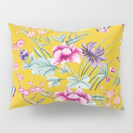 Yellow Chinoiserie Asian Floral Print Pillow Sham