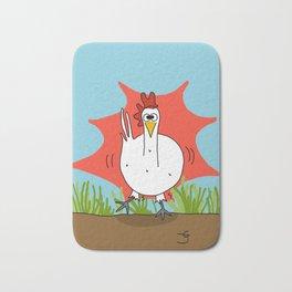 Eglantine la poule (the hen) when she has just drink coffee Bath Mat