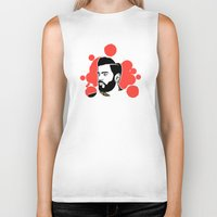 hipster Biker Tanks featuring hipster by mark ashkenazi