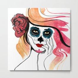Autumn Sugar Skull Girl Metal Print