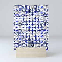 Geometric Lace – Navy & Grey Mini Art Print