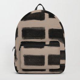 Brush Strokes Horizontal Lines Black on Nude Backpack