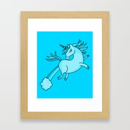 Funny & Cute Unicorn In Blue Cartoon Fantasy Art Kids Decor Idea Framed Art Print