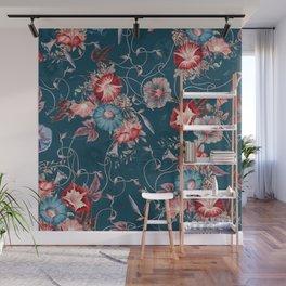 Moody Blue Floral Japanese Morning Glories Wall Mural