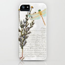 Chamomile Herb, Dragonfly Bumble Bee Botanical painting, Cottage style iPhone Case