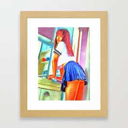 Hello Tokyo School Girl Framed Art Print