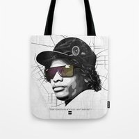 lakers Tote Bags featuring Eazy Muthafuckin E by Rogemil Velasco
