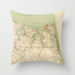 Vintage Map of Virginia Beach & Cape Henry (1918) Throw Pillow