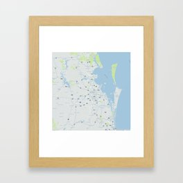Minimalist Modern Map of Brisbane, Australia 1 Framed Art Print