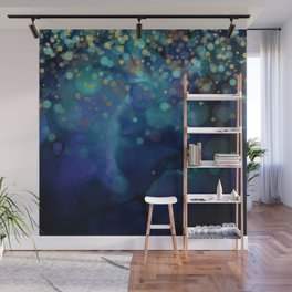 Ocean Blue & Golden Bokeh Confetti Wall Mural