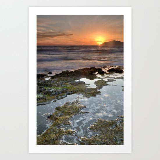 Water curves at sunset Art Print